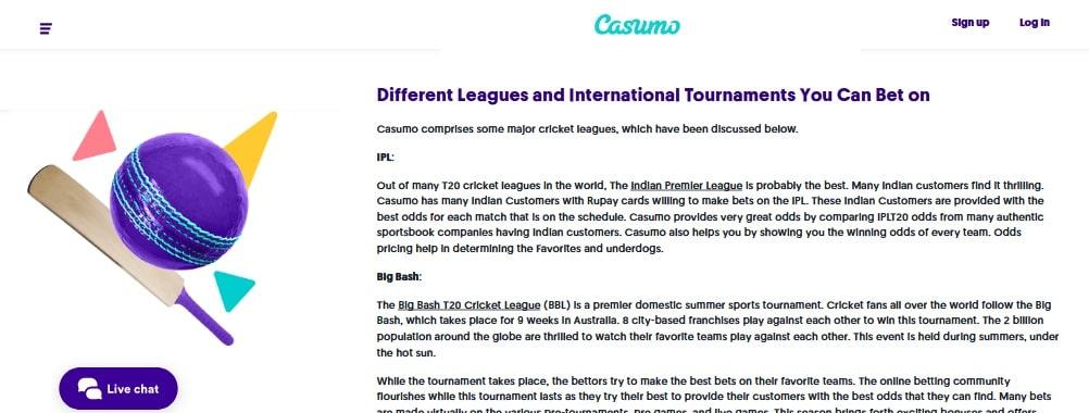 casumo cricket betting